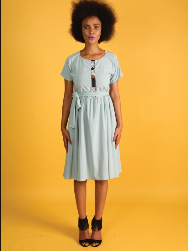 Women's Powder Blue Tea Dress